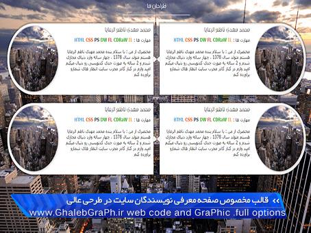 قالب مخصوص صفحه معرفی نویسندگان سایت در طرحی عالی