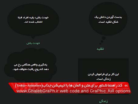 کد ابزار راهنما شناور برای متن و المان ها با انیمیشن جذاب(Tooltip-Animations)