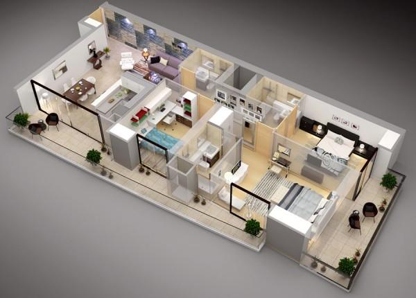 نقشه معماری 3 بعدی