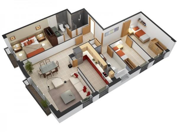 نقشه معماری 3 خوابه