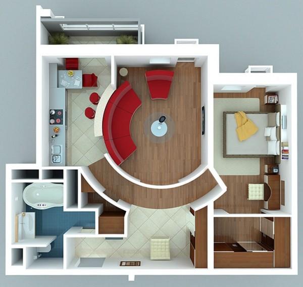 نقشه معماری 1 خوابه