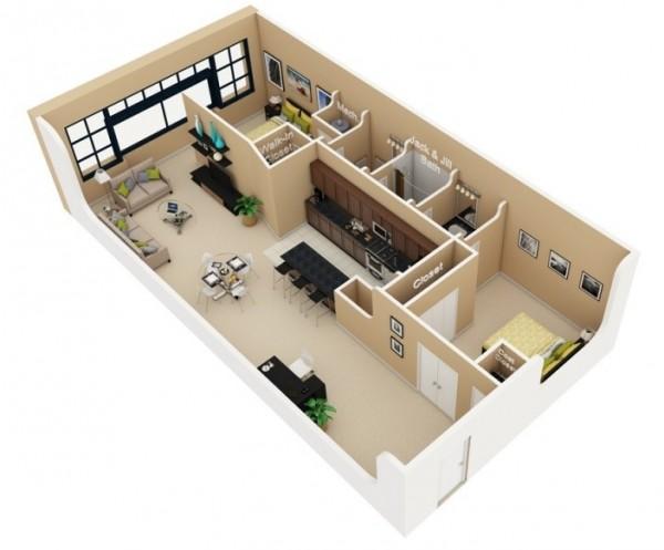 نقشه معماری 3 بعدی ساختمان 2 خوابه