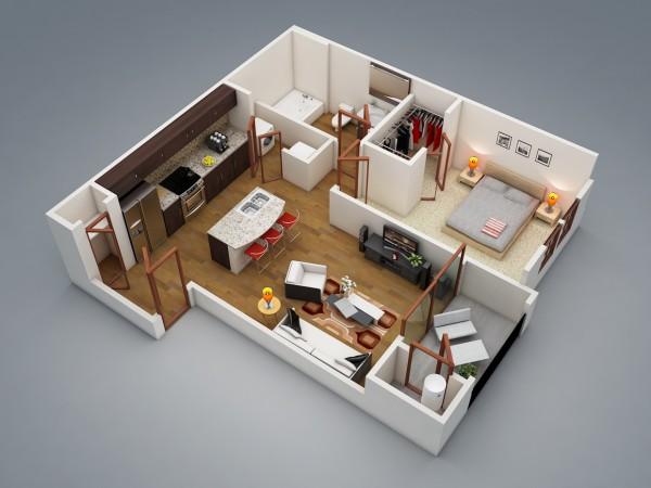 نقشه معماری ساختمان 1 خوابه