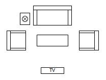 نماد وسایل اتاق پذیرایی در نقشه معماری