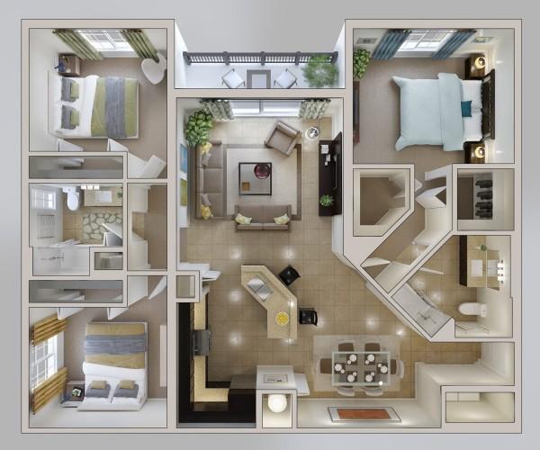 نقشه ساختمان 3خوابه